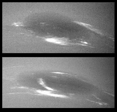 Evolution des nuages autour de la tache sombre de Neptune. Ces changements observés par Voyager 2 peuvent se produire en à peine quelques dizaines d'heures alors que la tache est de dimension équivalente à la Terre. Crédits : NASA