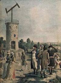The visual telegraph, developed by Claude Chappe. Courtesy of Musée de la Poste - Paris