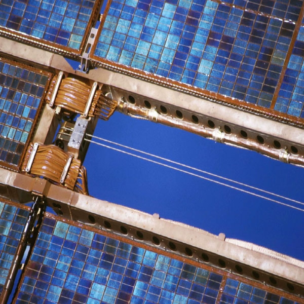 Photovoltaic cells on a solar array. Credits: CNES